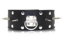 Load image into Gallery viewer, Large Gothic spiked punk collar studded choker and leash - black