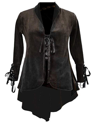 Darkstar velvet velour elf jacket tailed coat - M/L BLACK