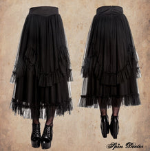 Load image into Gallery viewer, Eleanor long layered gothic mesh victorian skirt
