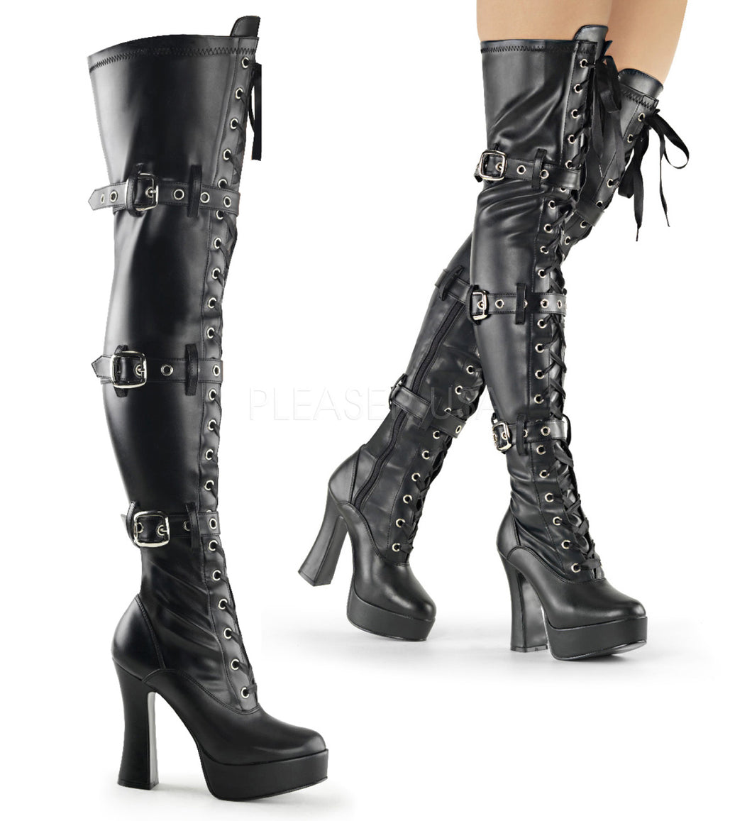 Electra 3028 - Gothic high heel thigh high boots