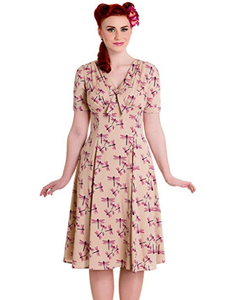 Eloise dragonfly pin up rockabilly retro dress LAST ONE- S