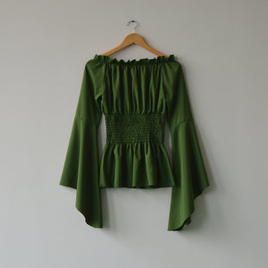 Elven medieval gothic steampunk long sleeve peasant top - Green