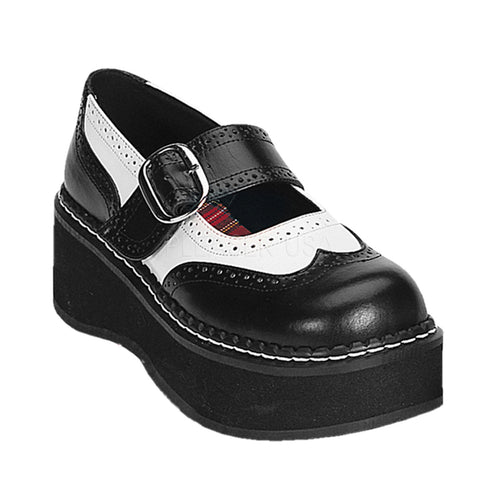 Emily302 - Black, white Mary Jane shoes