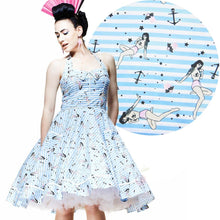 Load image into Gallery viewer, Seasick Sue nautical pin up rockabilly swing dress plus size