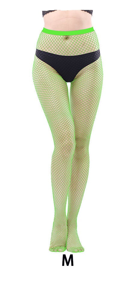 Fishnet pantyhose - full length fish net mesh tights  - Neon fluorescent green lime XS to XXL (8 to 20)