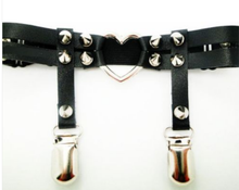 Load image into Gallery viewer, Sock Garter with heart and spiked studs