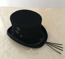 Load image into Gallery viewer, Decorated Classic Top Hat - cogs n gears gothic steampunk formal standard victorian Top Hat