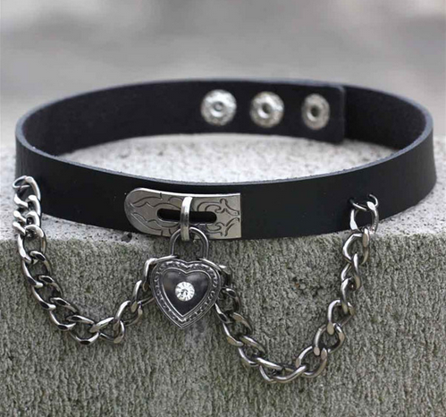 Harajuku chain crystal heart cute gothic kawaii collar choker