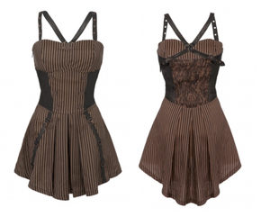Steampunk stripe pinafore harness dress