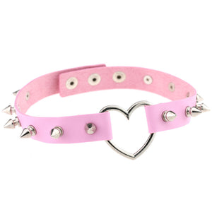 Spiked punk Pastel Goth Kawaii heart collar choker