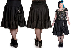 Henrietta gothic steampunk pirate buckle flared skirt - Plus Size