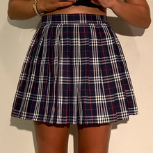 Load image into Gallery viewer, Punk Pleated classic tartan mini Skirt - navy & red tartan plaid