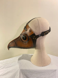 Panelled brown & black style brass beak plague doctor mask