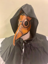 Load image into Gallery viewer, Panelled brown & black style brass beak plague doctor mask