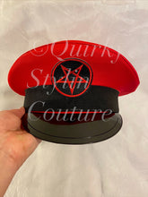 Load image into Gallery viewer, Red pentagram Military Hat - fetish gothic steampunk festival military captain officers cap