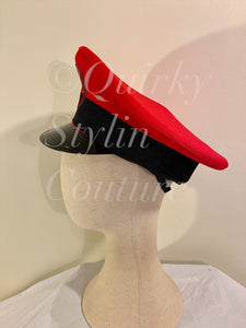 Red pentagram Military Hat - fetish gothic steampunk festival military captain officers cap