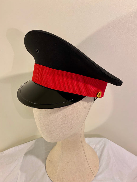 Military Hat - fetish gothic steampunk festival military captain officers cap -Black & Red