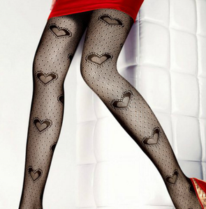 Fancy pattern Fishnet pantyhose LHT1 Love Hearts - full length fish net mesh tights  - Black XS to XXL (8 to 20)