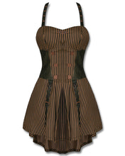 Load image into Gallery viewer, Steampunk stripe pinafore harness dress