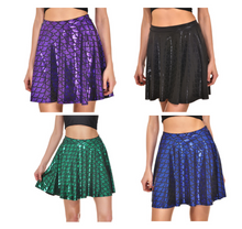 Load image into Gallery viewer, Mermaid metallic dragonscale mini skater skirt - PLUS SIZE 20-22