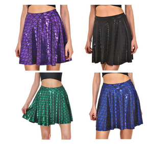 Mermaid metallic dragonscale mini skater skirt - PLUS SIZE 20-22