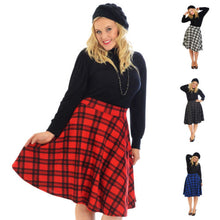 Load image into Gallery viewer, Punk gothic tartan plaid swing skater skirt - PLUS SIZE Wine Red