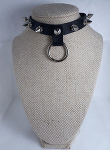 O-ring spike collar metal studded punk gothic collar choker