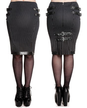 Load image into Gallery viewer, Octavia pinstripe steampunk gothic kick pleat pencil skirt - Plus Size