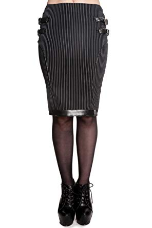 Octavia pinstripe steampunk gothic kick pleat pencil skirt - Plus Size
