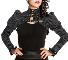 Load image into Gallery viewer, Octavia Pinstripe Buckled Gothic Victorian Shrug Bolero