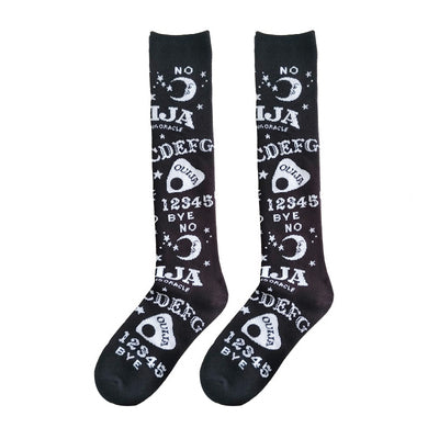 Ouija planchette witchy black gothic long socks - Crew socks