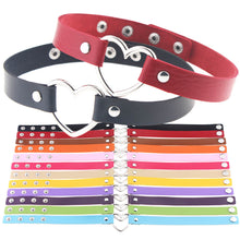 Load image into Gallery viewer, Heart Collar Pastel Goth Kawaii Choker - many colours - extra long 44.5cm Plus size