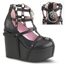 Load image into Gallery viewer, Poison 25-1 - Black pentagram wedge heel shoe PRE ORDER
