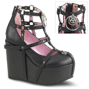 Poison 25-1 - Black pentagram wedge heel shoe PRE ORDER