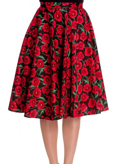 Poppy flower swing rockabilly circle skirt - PLUS SIZE