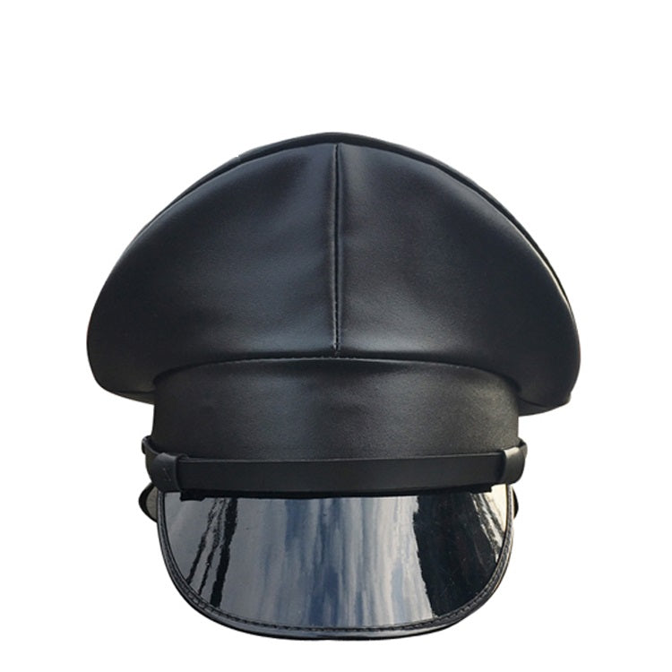 Military Hat - PVC fetish gothic steampunk festival pleather leather look military captain officers cap