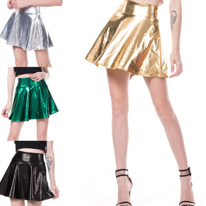 Stretch skater flared mini PVC look skirt - Black