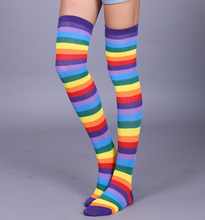 Load image into Gallery viewer, Rainbow stripes long socks - knee high / over knee socks - Candy rainbow, Purple Rainbow, Red Rainbow
