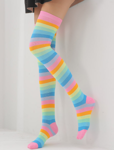 Rainbow stripes long socks - knee high / over knee socks - Candy rainbow, Purple Rainbow, Red Rainbow