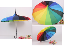 Load image into Gallery viewer, Rainbow pagoda style Japanese umbrella parasol