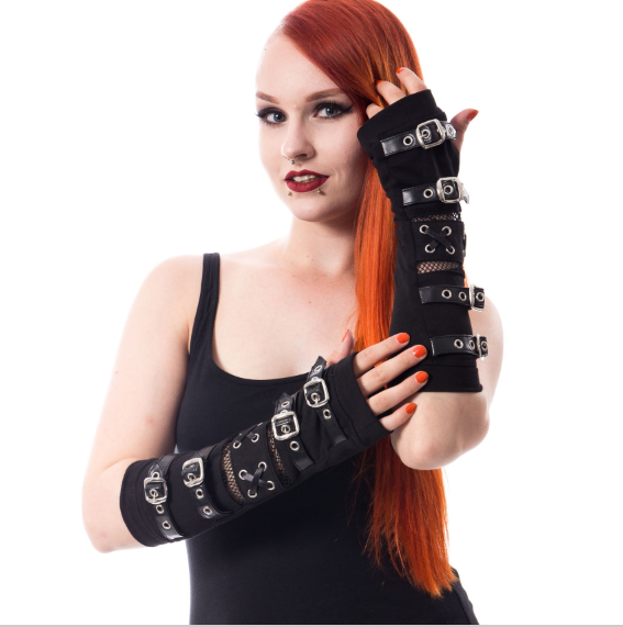 Riot Gothic Punk Buckle Corset fishnet long armwarmers gloves