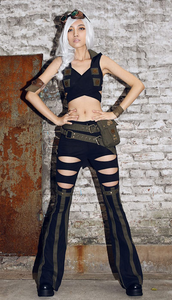Military gothic dieselpunk festival garter gothic pants trousers