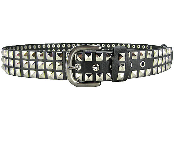 Studded punk gothic metal buckle belt - Black / silver 3 row square Pyramid - Men / Unisex