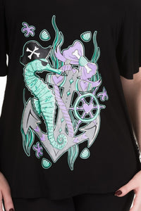 Pirate Seahorse Mermaid Ocean Kawaii Top