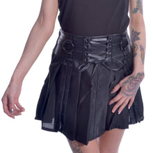 Load image into Gallery viewer, Siiri gothic punk PVC O-ring pleated mini skirt