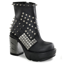 Load image into Gallery viewer, Sinister 64 - Metal Gothic Chunky Heel Ankle Boot