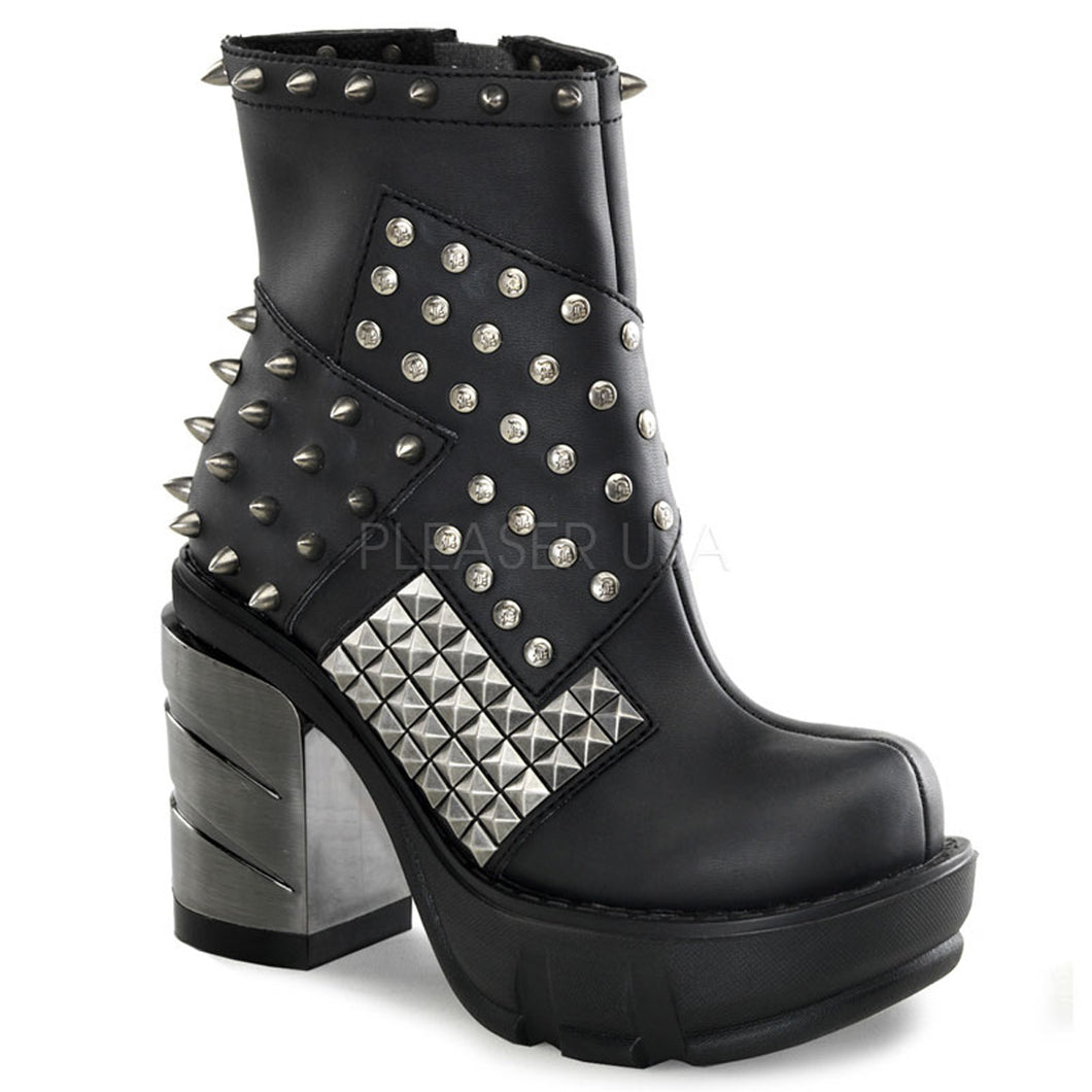 Sinister 64 - Metal Gothic Chunky Heel Ankle Boot