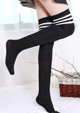 Load image into Gallery viewer, Gothic sexy sporty stripe top long socks - knee high / over knee socks - Red, Purple, White, Brown, Blue, Pink