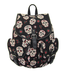 Sugar Skull woven canvas large backpack bag