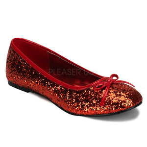 Star16G Red - Glitter ballet flat shoe